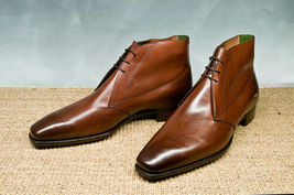 Handmade Men's Brown Leather High Ankle Chukka Boots image 3