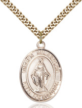 14K Gold Filled Virgen Milagrosa Pendant 1 x 3/4 inch with 24 inch Chain - $135.80
