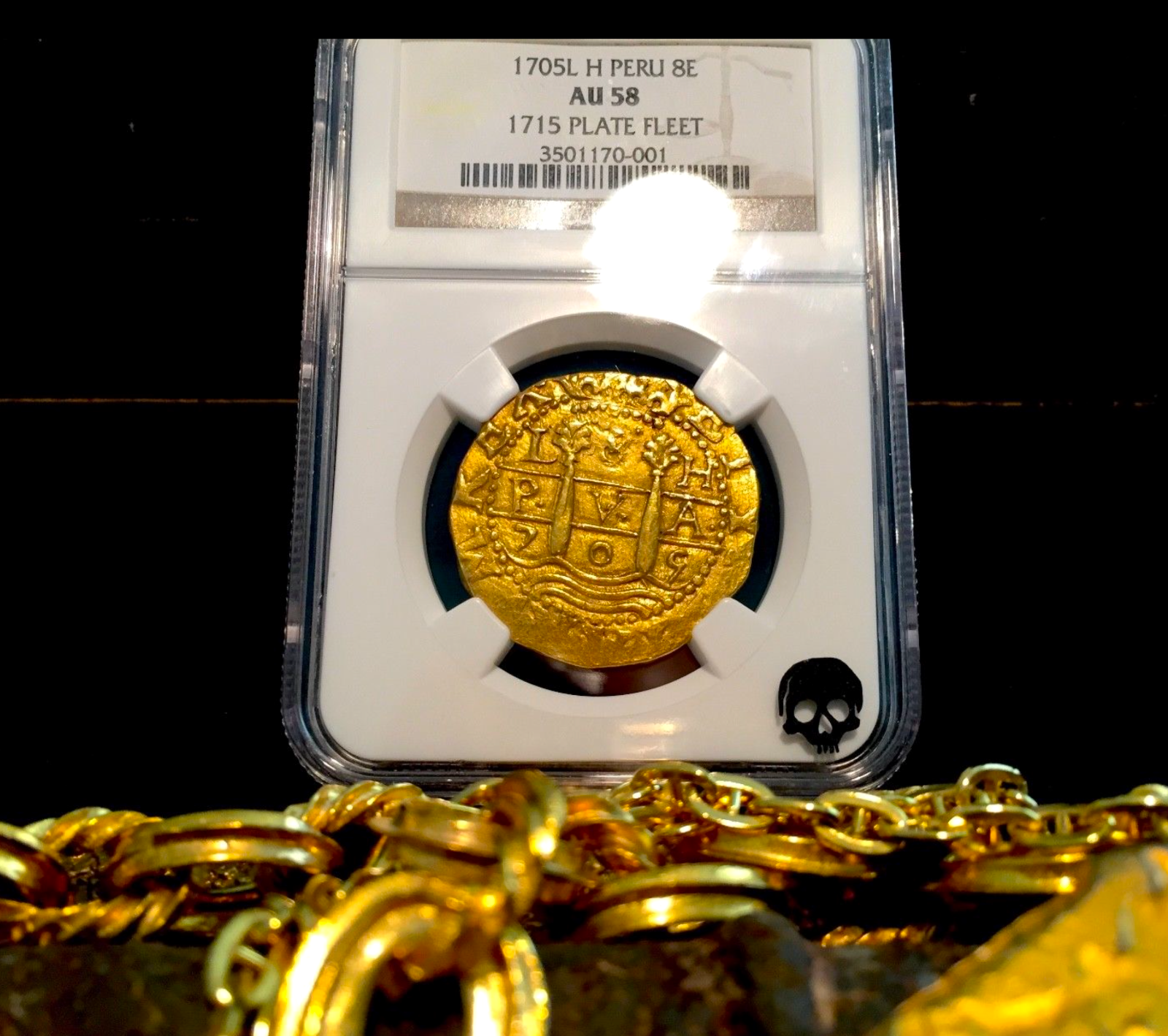 "Primary image for PERU 1705 8 ESCUDOS ""1715 FLEET SHIPWRECK"" NGC 58 PIRATE GOLD COINS DOUBLOONS"