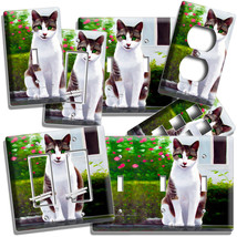 Smiling Green Eyes Kitty Cat Light Switch Outlet Wall Plate Cover Bedroom Decor - $9.99+