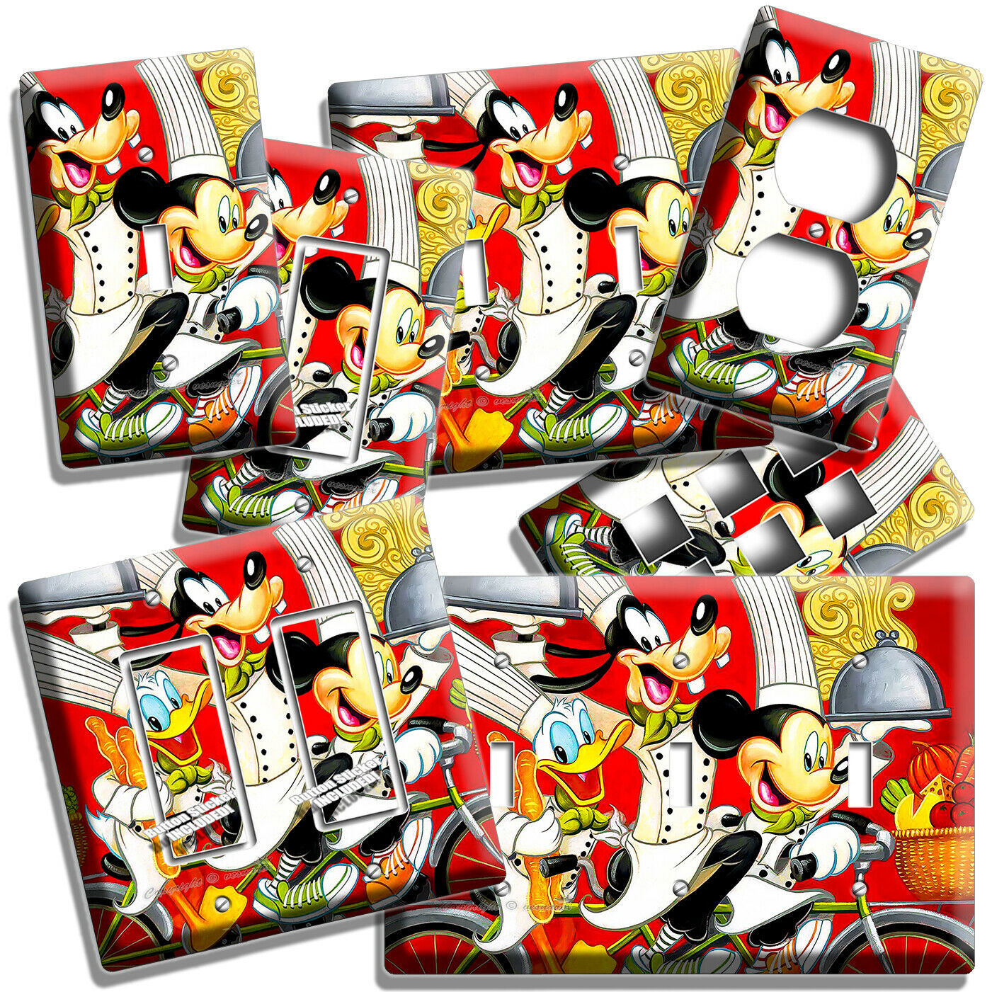 MICKEY MOUSE GOOFY DONALD DUCK CHEF LIGHT SWITCH OUTLET WALL PLATE KITCHEN DECOR