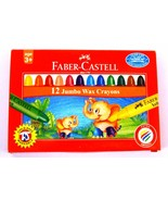 Faber-Castell  12 Jumbo Wax Crayons  Assorted Shades   90 mm each - $6.89