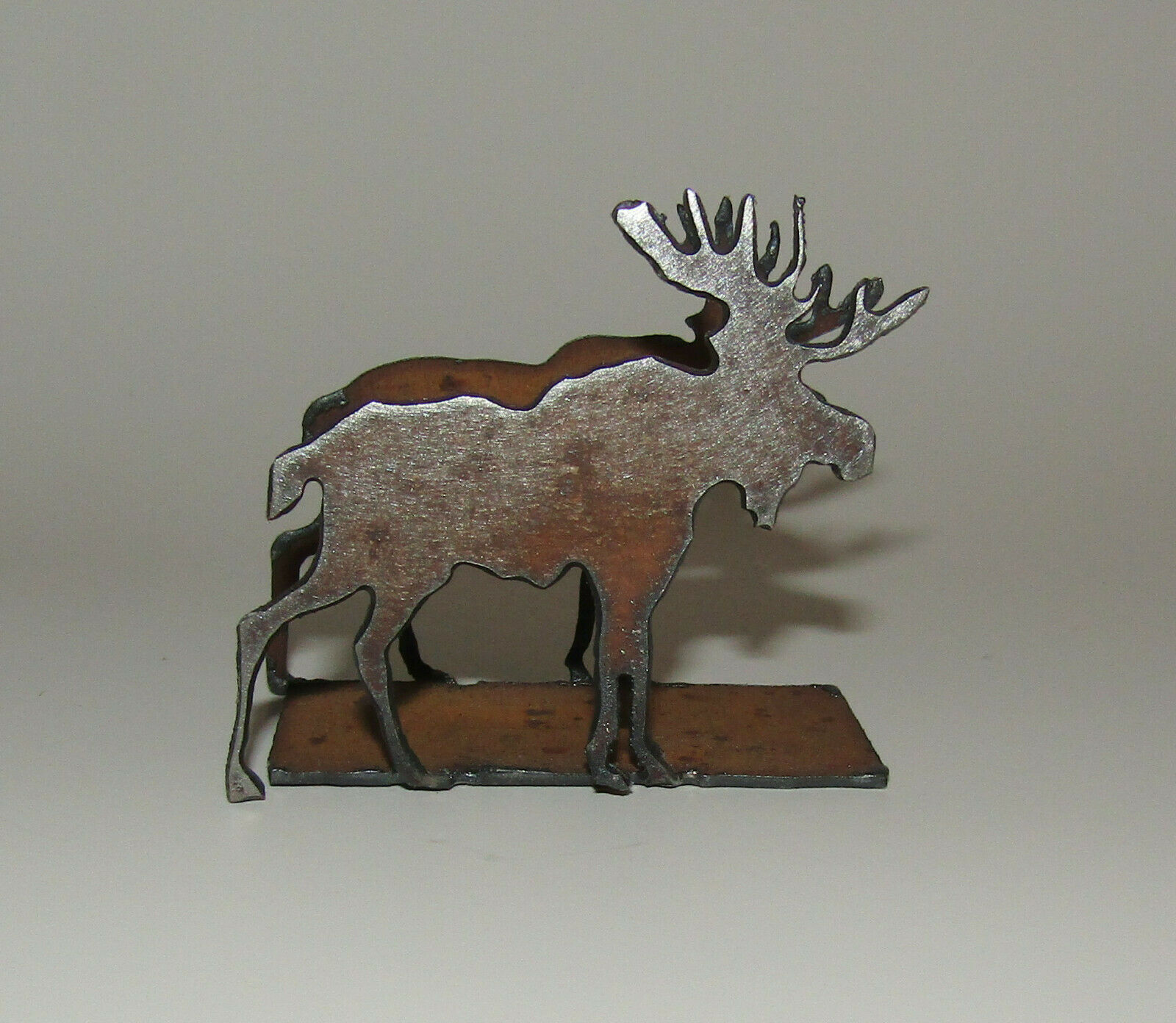 "Primary image for Moose Business Card Holder New Antiqued Metal 2"" High"