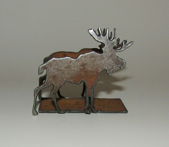 "Moose Business Card Holder New Antiqued Metal 2"" High  - $12.86"