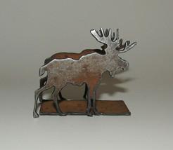 """Moose Business Card Holder New Antiqued Metal 2"""" High  - $12.86"""