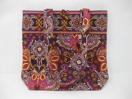Vera Bradley Quilted Tote, Black w/ Vibrant  Orange, Purple & Green Design - ₹2,136.23 INR
