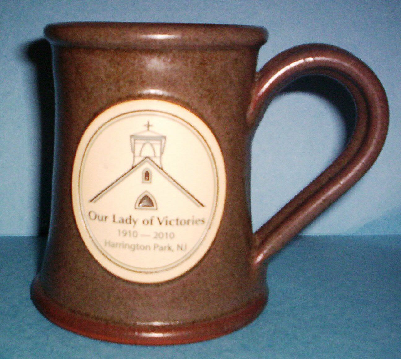 Primary image for DENEEN POTTERY MUG OUR LADY OF VICTORIES (1910-2010) HARRINGTON PARK, NJ