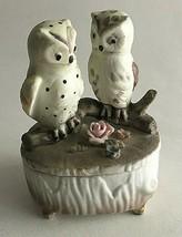 "Vintage Owl Ceramic Figurine Statue Trinket Box w/Lid 4X3X2"" Mid Century  - $14.60"