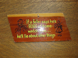Wood sign, souvenir from St. Petersburg, Florida, Boss at Home, old, hum... - $22.90