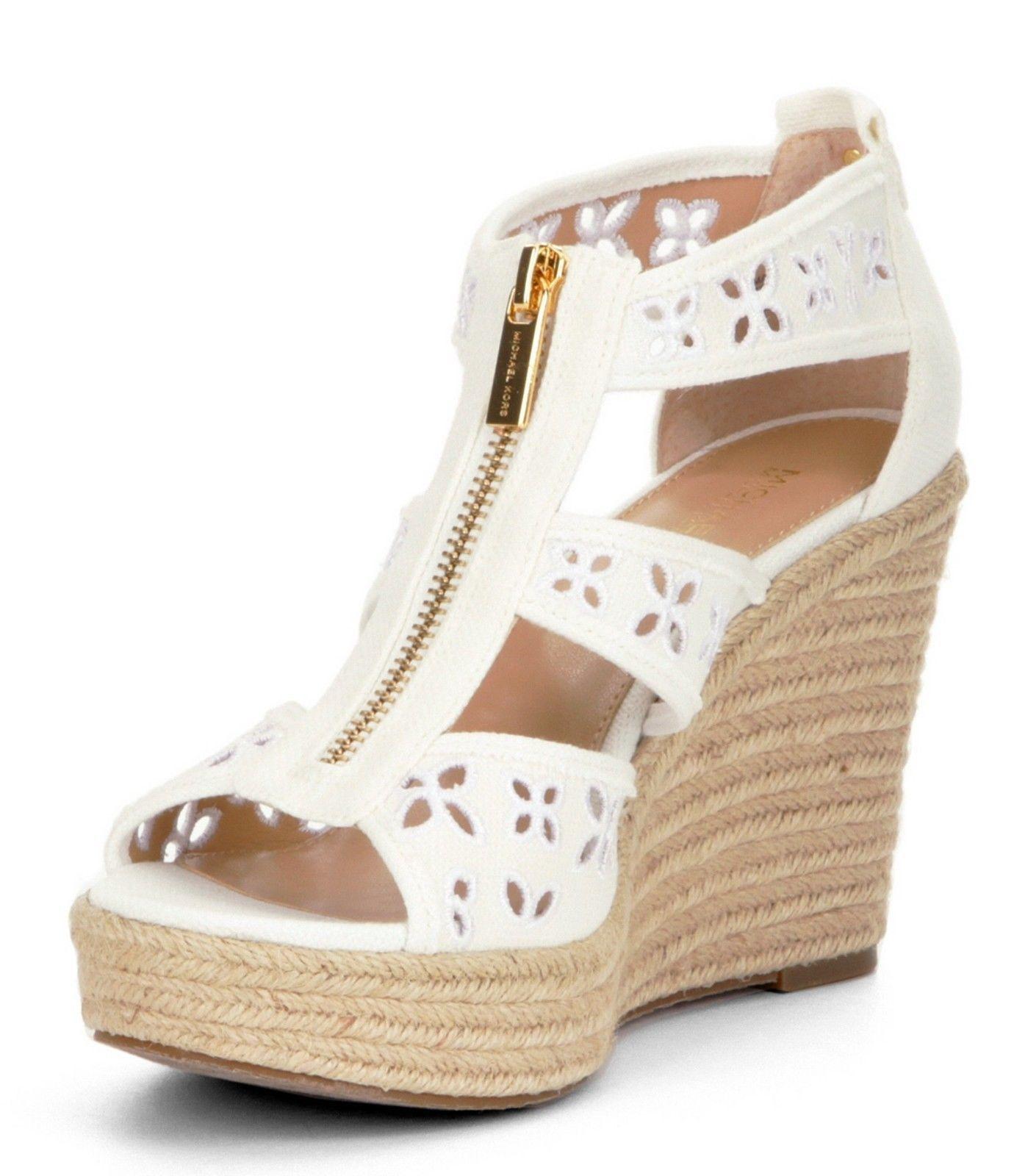 109ec4eaca Michael Kors Damita Floral Platform Wedge Sandal/Canvas/Optic White/Various  Size