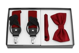 Berlioni Italy Formal Tuxedo Bow Tie Convertible Suspenders Hanky Gift Box Set image 2