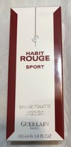 Habit Rouge Sport By Guerlain NEW Sealed 3.4 oz / 100ml EDT Cologne Spra... - $70.58