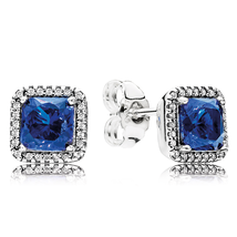 925 Sterling Silver Timeless Elegance,True Blue Crystals Stud Earrings QJCB1380 - $22.88
