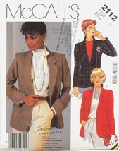 McCall's Sewing Pattern 2112 Misses Jacket 14  Instructions 8-Hour Blaze... - $4.95