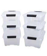 12 Quart 6 Box Stackable Pull Storage Plastic Bin Container w/ Ribbed Li... - $32.75