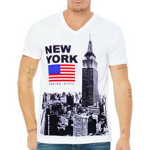 NEW YORK EMPIRE STATE BUILDING UNITED STATE EXCHANGE MEN'S WHITE V-NECK ... - $13.99