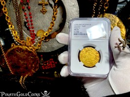 SPAIN 2 ESCUDOS TOLEDO 1556 NGC 55 PIRATE GOLD COINS 1556-98 TREASURE DO... - $2,995.00