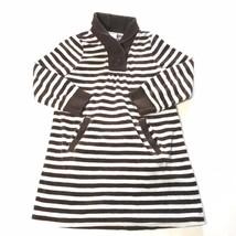 Girls Gymboree Brown Blue Striped Long Sleeve Fleece Dress Sz 5 - $7.84