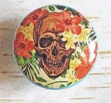 4 Handmade Skull and Hawaiian Flower Knob Drawer Pulls, Birch Wood Cabin... - $23.76