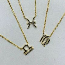 Dainty Jet Black CZ Zodiac Sign Necklaces image 6