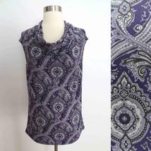 Michael Kors size SMALL purple paisley damask print cap sleeve blouse top EUC - $44.99