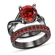 Red Garnet Ladies Anniversary Bridal Ring Set 14k Black Gold Plated 925 ... - $100.99