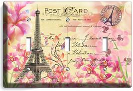 RETRO EIFFEL TOWER FLOWERS PARIS LOVE POST CARD 3 GANG LIGHT SWITCH PLAT... - $16.19