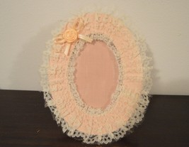 Peach lace photo frame 3 x 5 size photo, vintage Russ photo frame - $10.00