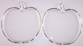 Hazel-Atlas Orchard Lot of 2 Clear Glass Apple Shaped Luncheon Salad Plates - $18.99