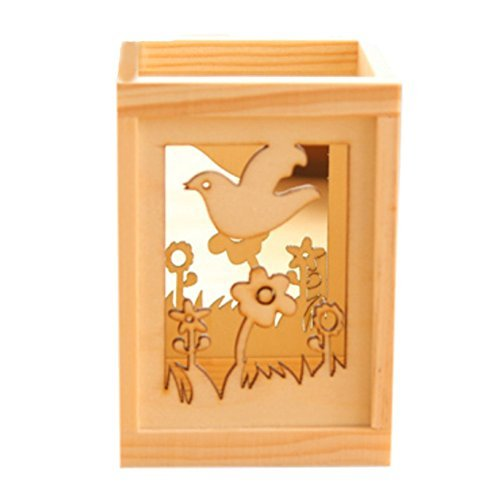 Primary image for Pen/Pencil Holder Desk Organizer with Small Drawers, Carved Bird