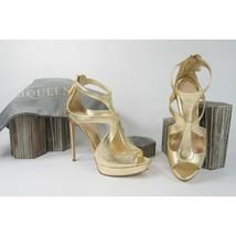 Alexander McQueen Gold Leather Cut Out Cage Platform High Heels Sz 39.5 9.5 NIB - $390.56