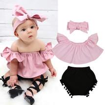 3Pcs Summer Clothes Newborn Baby Girl Off Shoulder T Shirt Cute Ruffle T... - $10.99