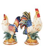 Fitz and Floyd Ricamo Rooster and Hen Figurine Set NIB - $249.99