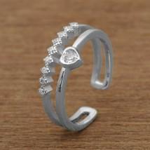 925 Sterling Silver Victorian Style White American Diamond Princess Open... - $14.17