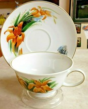 "Cup and Saucer ""Day Lily Wildflowers of America"" Rosenthal Group Danbury... - $18.70"