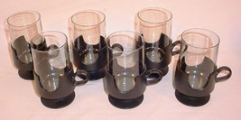 6 MID CENTURY MODERN CORNING SMOKED GLASS GLAS SNAP 8 OZ HOT COLD GLASSES - $20.84
