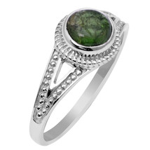 Round Green Tourmaline Gemstone 925 Sterling Silver Jewelry Ring Size 7 ... - $15.88