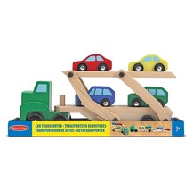 Melissa And Doug Car Transporter And Cars Wooden Toy Set With 1 Truck An... - $25.72