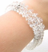 VTG Sterling Silver .925 Clear Cut Crystal Beaded Art Deco Bracelet - $79.20