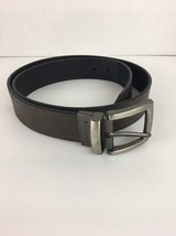 Columbia Mens Belt 38 L Brown Black Leather Convertable Flipping Sliver ... - $17.99