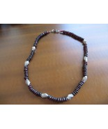 Vintage Tribal Rondelle Cut beads Cherry Garnet Necklace Sterling beads/... - $85.00