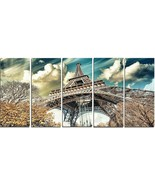 Designart Street View Paris Eiffel Tower Cityscape Digital Art Canvas 60... - $94.90