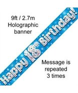 Party2u 9ft Blue & Silver stars Holographic Happy 18th Birthday Banner (... - $5.93