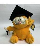 "1997 Garfield Cat Graduation Cap Diploma Stuffed Animal Plush 8"" Fiesta - $14.85"