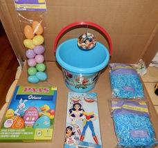 Easter Mix Lot 6 Items Wonder Woman Plastic Basket Paper Grass & Eggs Dye 163L - $12.49