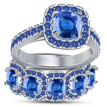 Bridal Engagement Ring Set Cushion Cut Sapphire White Gold Over Pure 925... - $108.99
