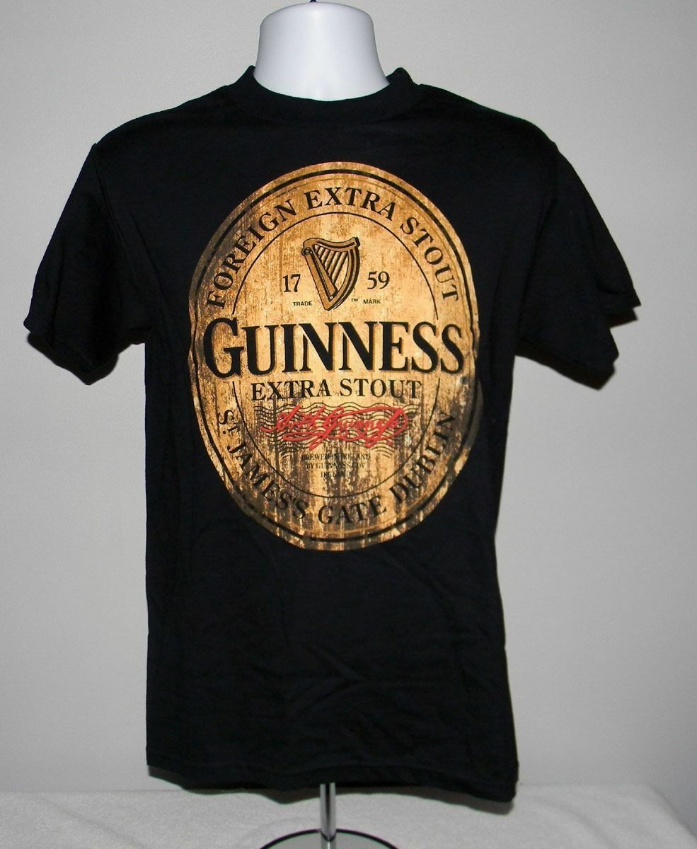 Primary image for NEW MENS GUINNESS STOUT DISTRESSED BEER LABEL SHIRT SMALL JAMES GATE DUBLIN