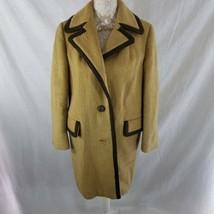 Vintage 1970s Lodenfrey Austrian Mohair Mod Coat Beige Medium - $96.49