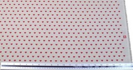 Love Hearts Red Beige Linen Look High Quality Fabric Material 3 Sizes - $2.99+