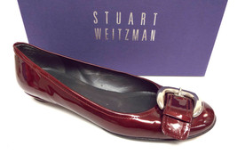 STUART WEITZMAN Red Patent Size 7 Ballet Flats Shoes w/ Silver Tone Buckle - $55.00